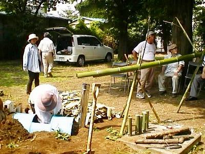竹酢液採取