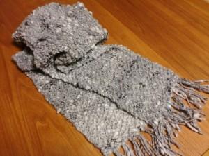アルパカMIXの鹿の子編みマフラー