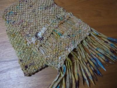 ドライブ編み+鹿の子編みのマフラー