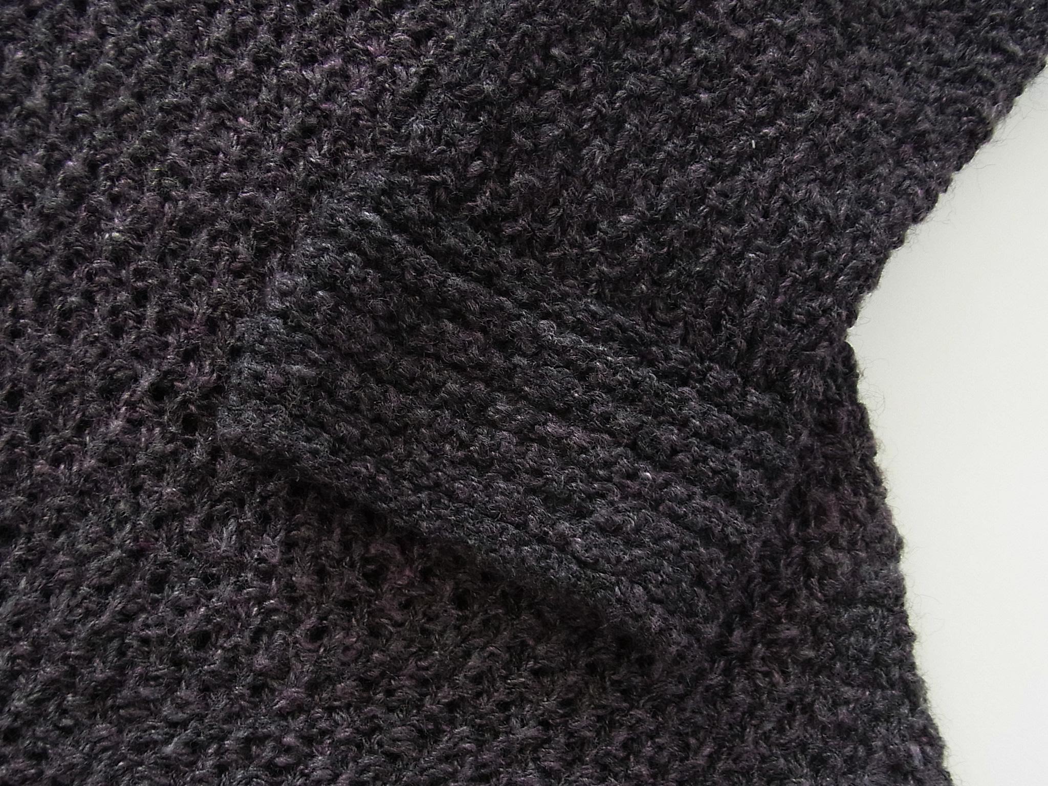 ガーター編みの袖口