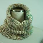 手紡ぎ糸のネックウォーマー&帽子/様々な色をツイード風に散りばめて・・・